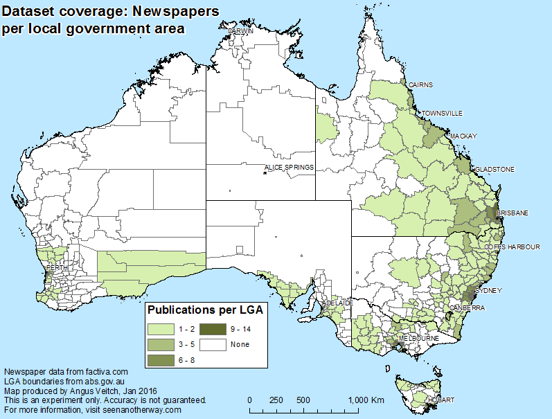Newspapers in the dataset cover most of eastern Australia, with much patchier coverage of the remainder of the country.