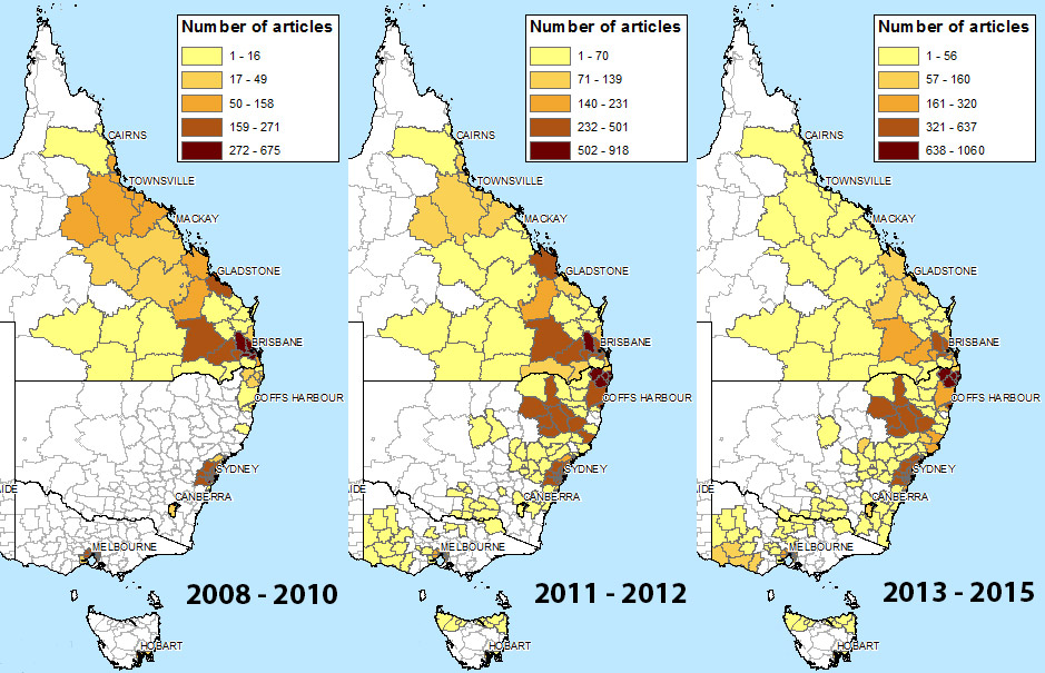 News coverage of coal seam gas spread to New South Wales in 2011.