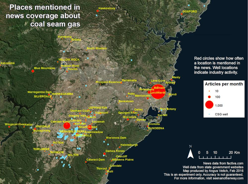 Locations around Camden, NSW, mentioned in Australian news coverage about coal seam gas from 1996-2015.