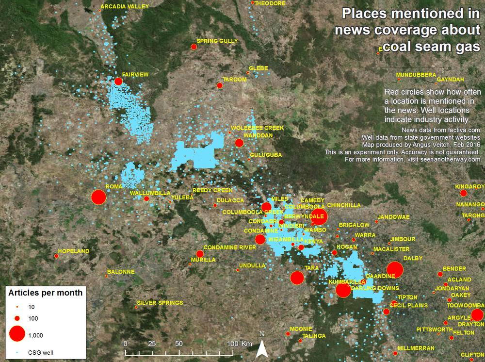 Locations around the Surat Basin, Qld, mentioned in Australian news coverage about coal seam gas from 1996-2015.
