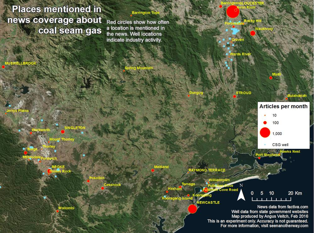 Locations around Gloucester, NSW, mentioned in Australian news coverage about coal seam gas from 1996-2015.