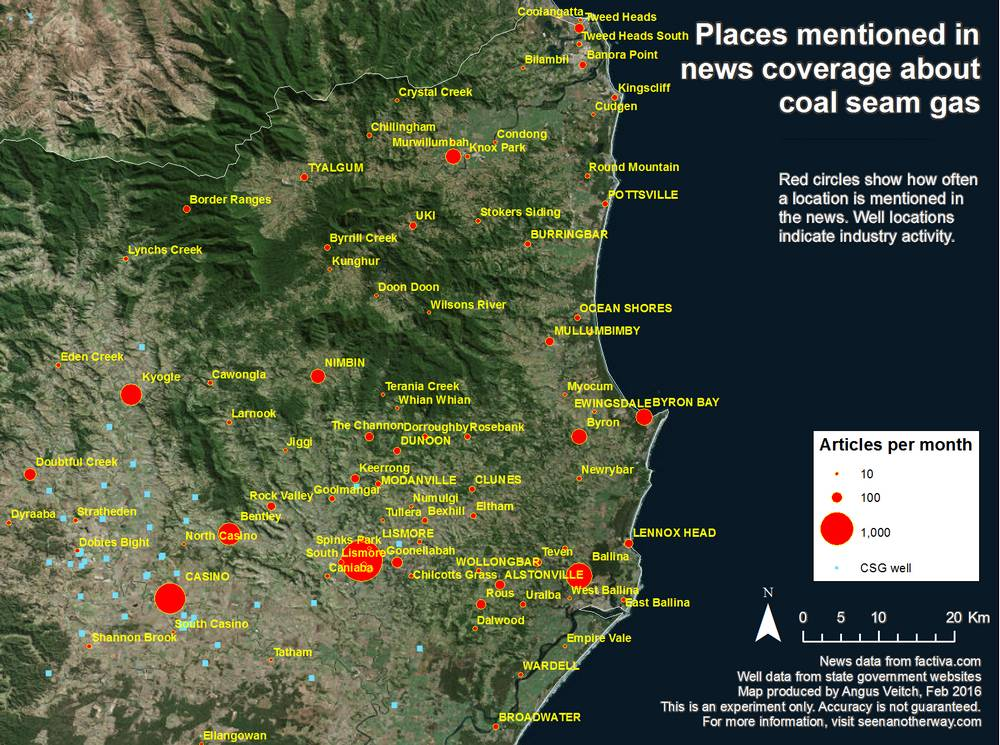Locations around Lismore, NSW, mentioned in Australian news coverage about coal seam gas from 1996-2015.